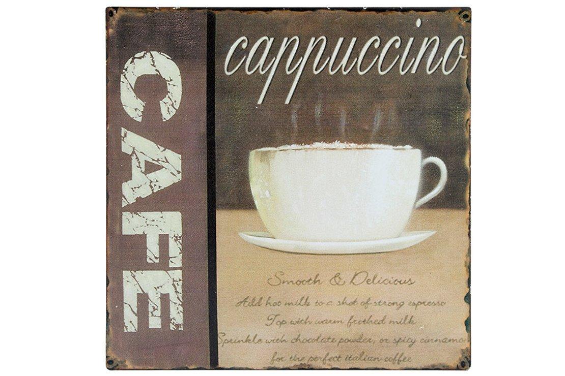 KJ Collection Metallschild Cafe Cappuccino 24 x 24cm - Pic 1