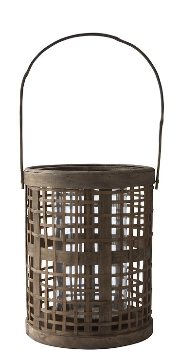 KJ Collection Windlicht Laterne Hurricane  Bambus/Glas natur 40 x 18cm - Pic 1