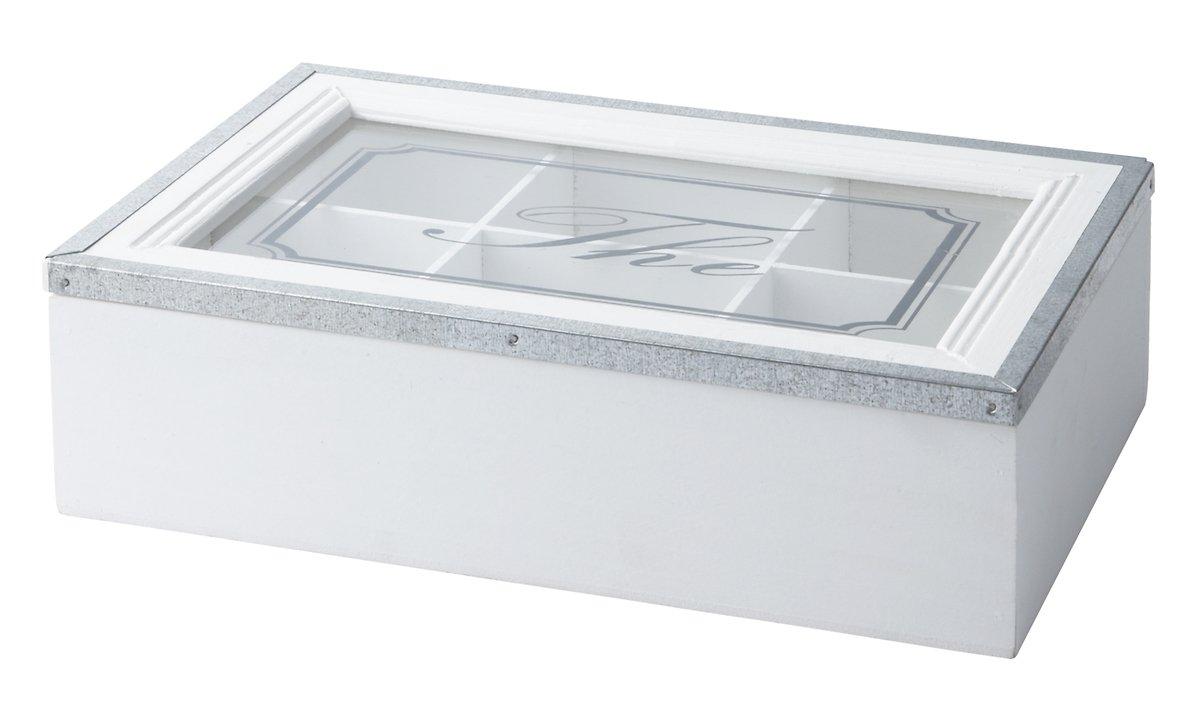 KJ Collection Aufbewahrungsbox Holz/Metall weiß 7 x 16 x 24cm - Pic 1