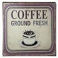 KJ Collection Metallschild Coffee Ground Fresh 24 x 24cm