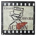 KJ Collection Metallschild Lights Camera Action 24 x 24cm
