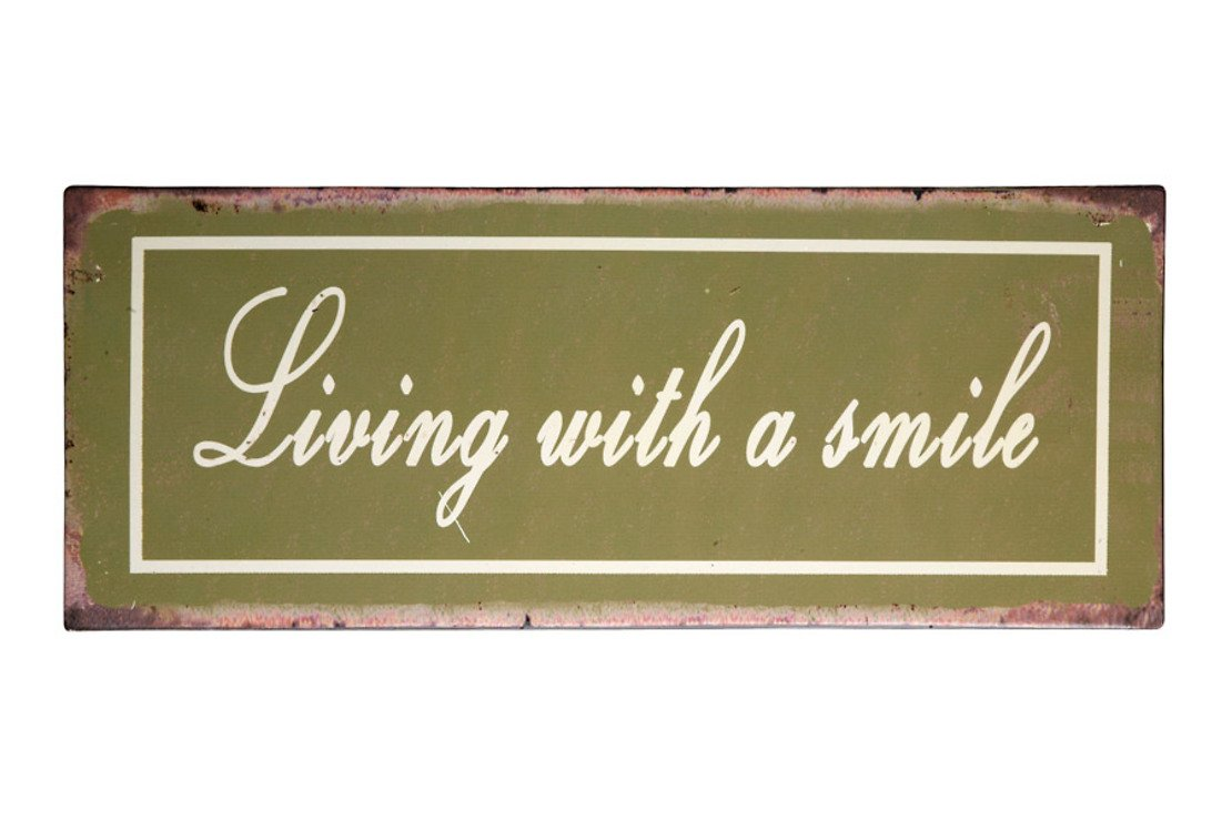 KJ Collection Metallschild Living With A Smile 39 x 15cm - Pic 1