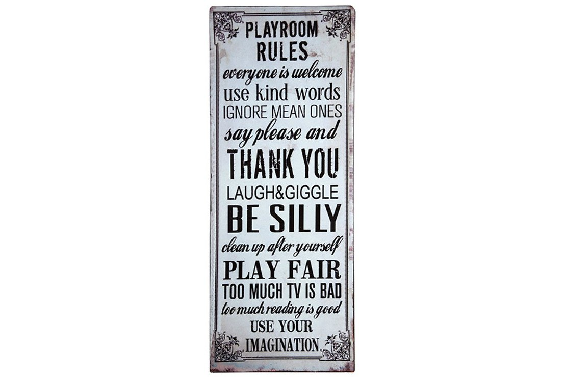 KJ Collection Metallschild Playroom Rules 19 x 48cm - Pic 1