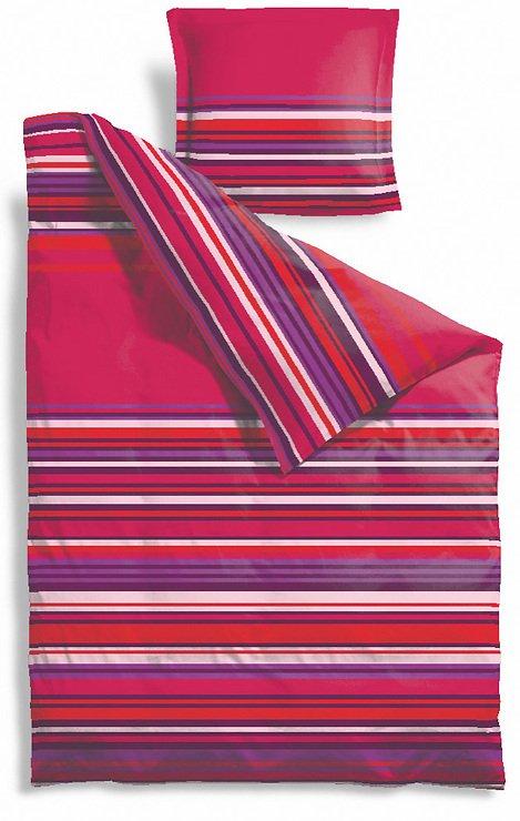 Zone Bettwäsche Confetti 140x220cm / 60x63cm Streifen pink - Pic 1