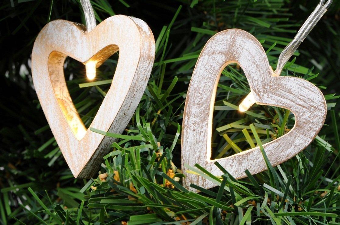 Kaemingk Lichterkette Herz Holz 12 LED 2,4m - Pic 1