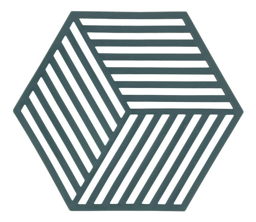 Zone Topfuntersetzer Hexagon Streifen 16 x 14 cm Silikon grün - Pic 1