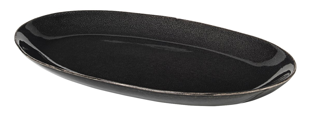 Broste Servierplatte oval Nordic Coal 17 x 30 cm Keramik charcoal - Pic 1