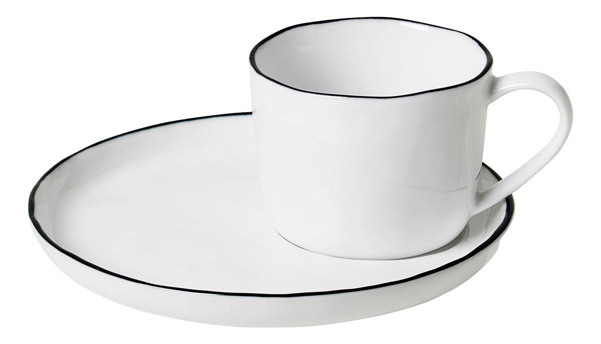 Broste Espressotasse mit Untertasse Salt S 100 ml Porzellan weiß schwarz - Pic 1