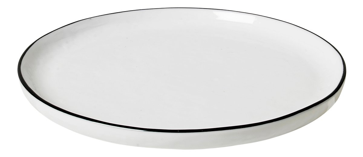 Broste Dessertteller Salt 18 cm Porzellan weiß schwarz - Pic 1