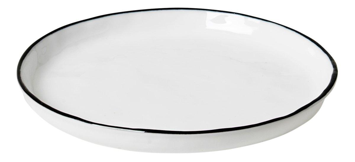 Broste Beistellteller Salt 13,8 cm Porzellan weiß schwarz - Pic 1