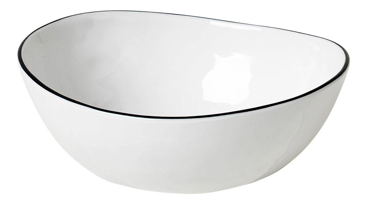 Broste Schüssel Salt oval 17 cm Porzellan weiß schwarz - Pic 1