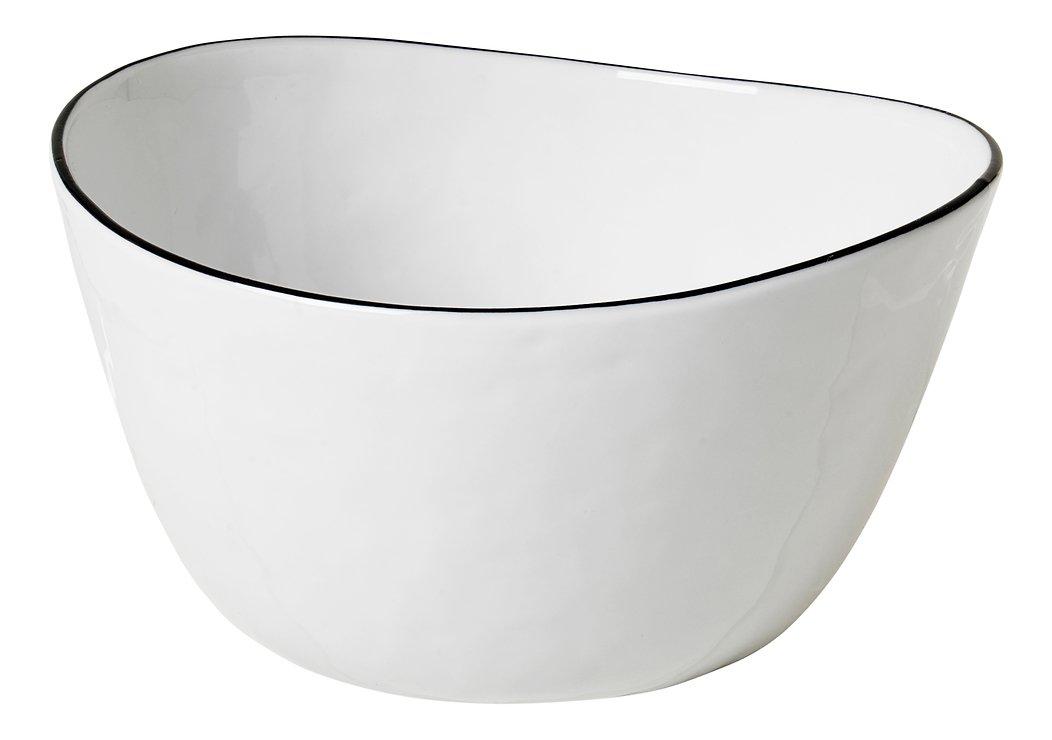 Broste Schüssel Salt oval 20 cm Porzellan weiß schwarz - Pic 1