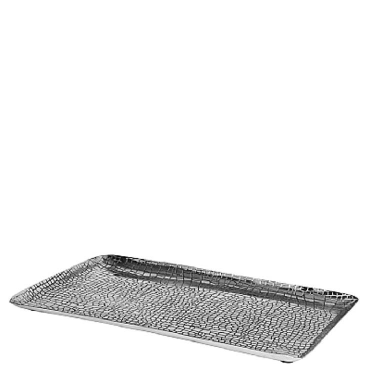 Broste Kerzenschale Crocodile Aluminium silber rechteckig 36cm - Pic 1
