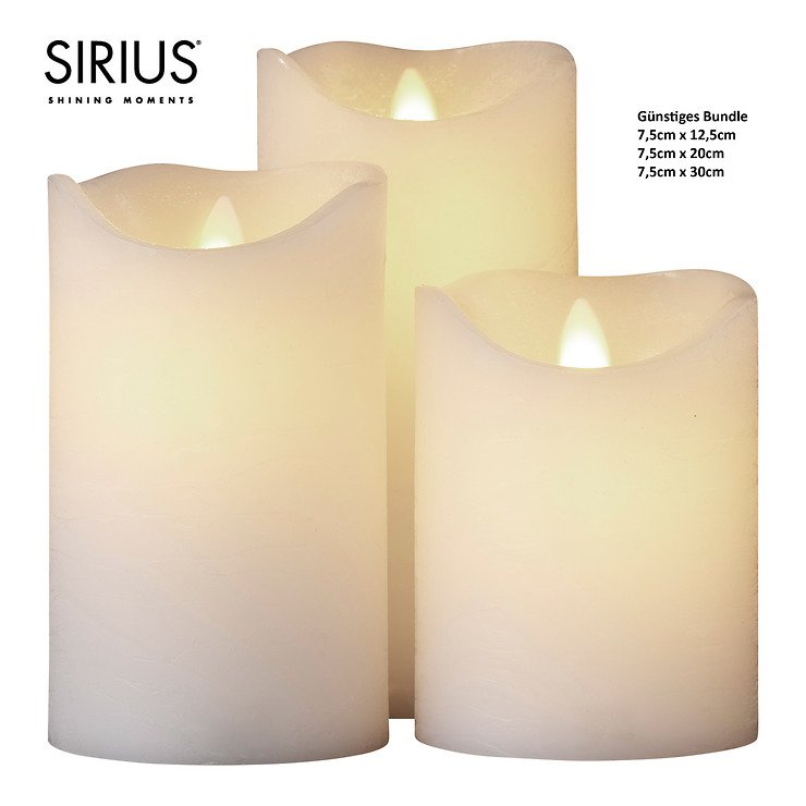 Sirius LED Kerze 3er Set Sara Exclusive 7,5 x30 x20 x12 cm Batterie Timer weiß - Pic 1