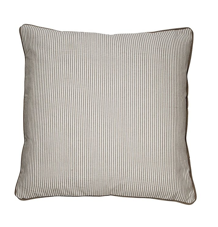 Cozy Living Dekokissen Baumwolle gestreift khaki 60 x 60cm - Pic 1