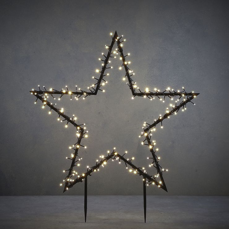 Luca Lighting Leuchtstern Gartenstecker 225 LED klassik weiß 90 x 102cm schwarz - Pic 1