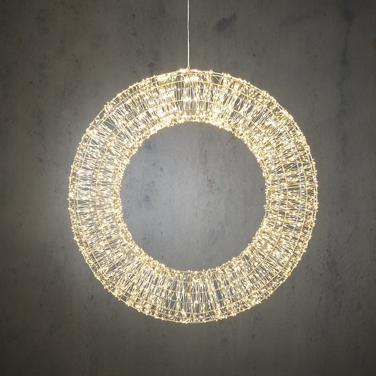 Edelman LED Kranz Outdoor 4000 LED klassik weiss 60cm Metall silber - Pic 1