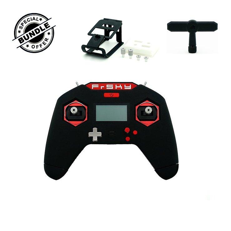 FrSky Taranis X-Lite 2.4GHz Funkfernsteuerung Handsender schwarz mit T-Shape Antenne Brace Lite und long short gimbal Sticks schwarz - Pic 1