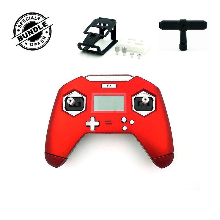 FrSky Taranis X-Lite 2.4GHz Funkfernsteuerung Handsender schwarz mit T-Shape Antenne Brace Lite und long short gimbal Sticks rot - Pic 1