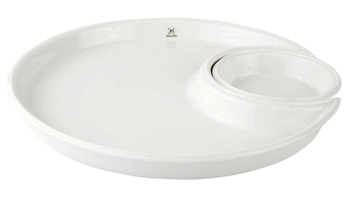 Galzone Servierteller mit Dippschale Porzellan weiß - Pic 1