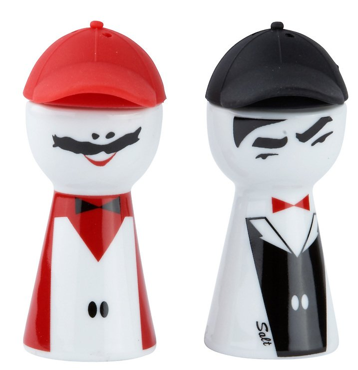 Galzone Figur Salz und Pfefferstreuer Porzellan/Silikon schwarz/rot - Pic 1
