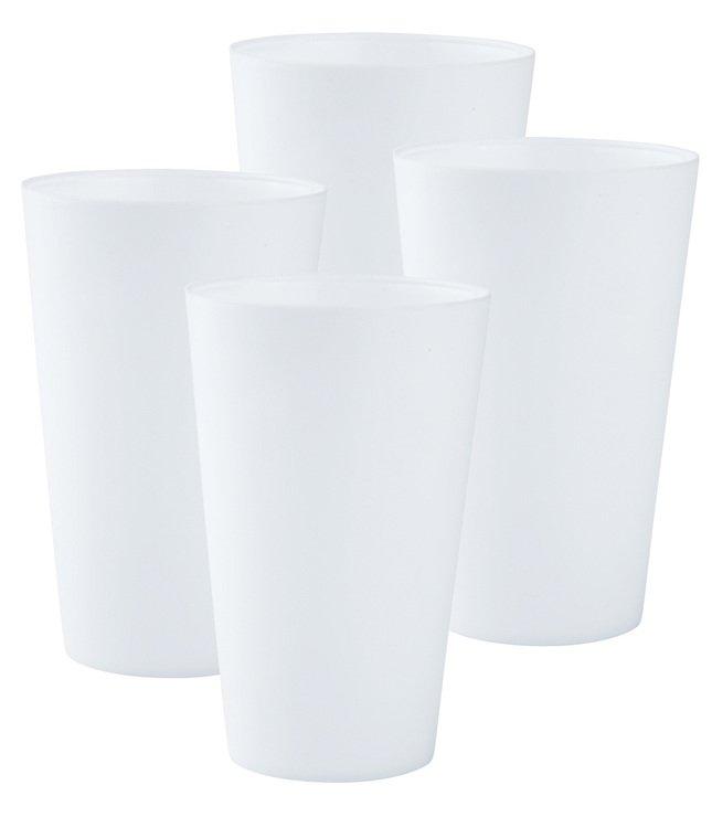 Galzone Trinkbecher Kunststoff weiß 8x13cm 4er Set - Pic 1