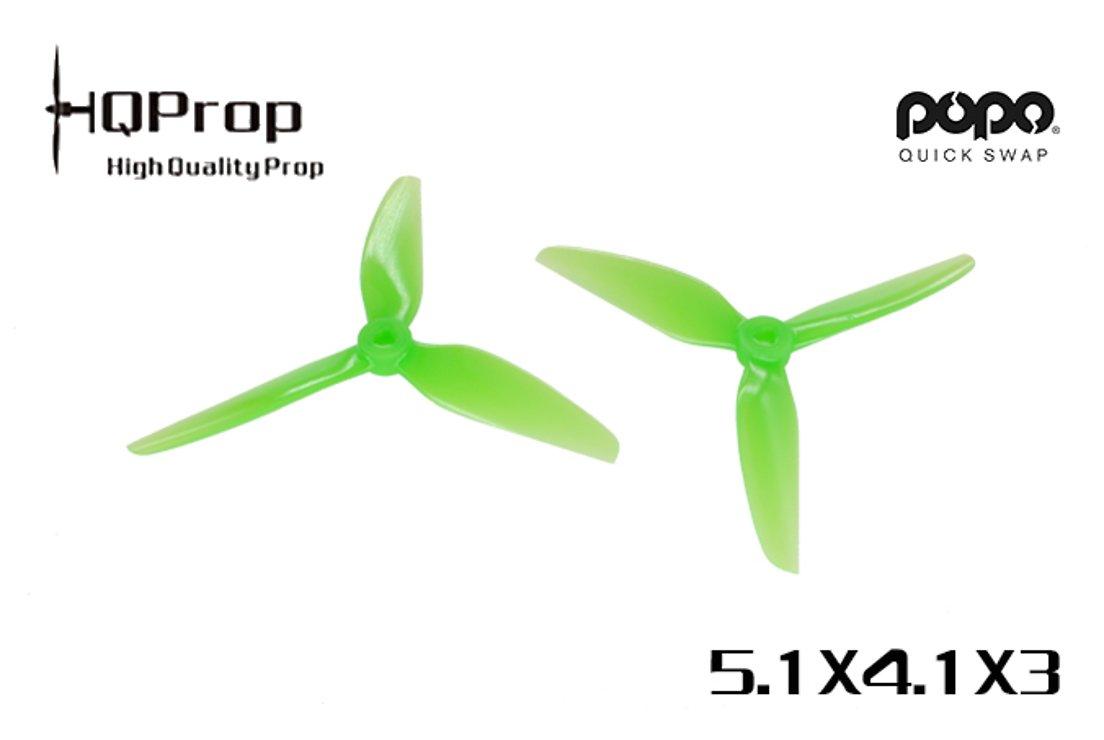 HQ Prop 5141 Dreiblatt V1S Grün POPO 2CW+2CCW Polycarbonat FPV Propeller 5 Zoll - Pic 1