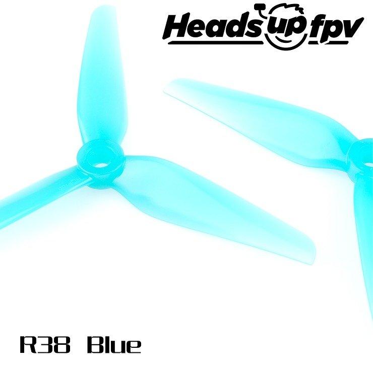 HQ Propeller Heads up fpv R38 3 Blatt Blau 4 Stück PC 5 Zoll - Pic 1