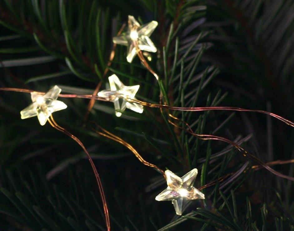 Lights4Christmas LED Bündellichterkette Sterne 200 Micro LED 1,5m Outdoor kupferfarben - Pic 1