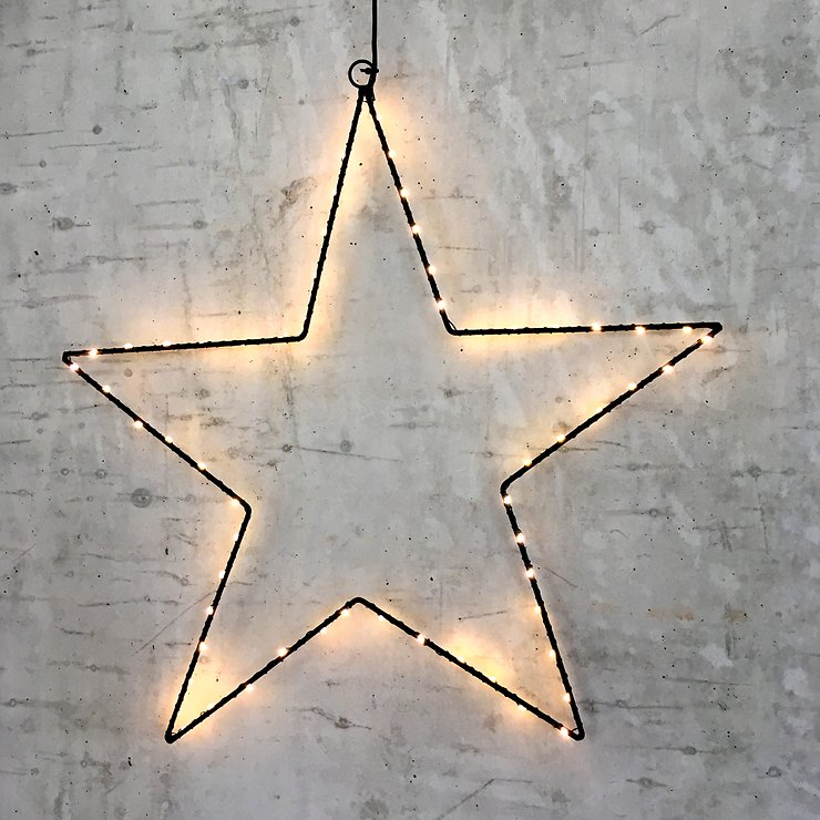 Lights4Christmas Leuchtstern 60 LED 50cm Metall schwarz außen - Pic 1