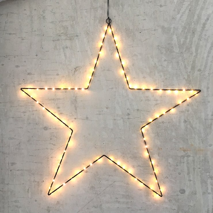Lights4Christmas Leuchtstern 80 LED 70cm Metall schwarz außen - Pic 1