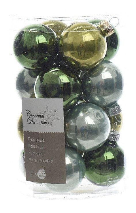 Kaemingk Weihnachtskugel-Mix Mini 3,5cm Glas Loved by nature 16 Stück grün - Pic 1
