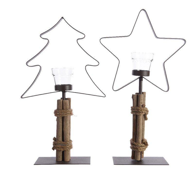Kaemingk Teelichthalter 2er Set Baum Stern Eisen/Holz 44cm - Pic 1