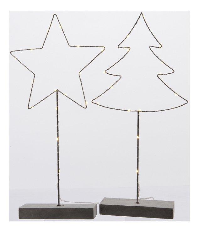 Kaemingk Metallfiguren Set Baum und Stern 15 LED batteriebetrieben 53cm - Pic 1