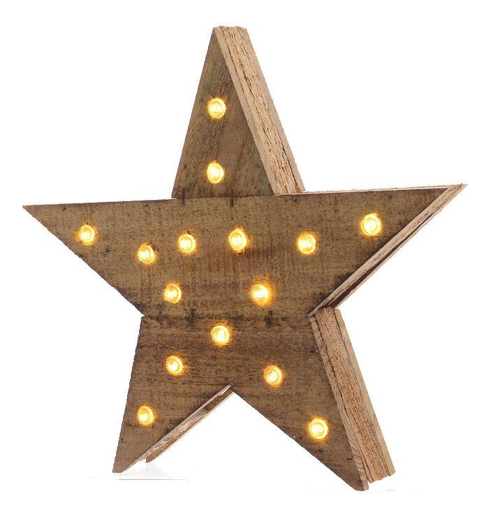 Kaemingk Leuchtstern Holz 20 LED batteriebetrieben 40 x 39cm braun - Pic 1
