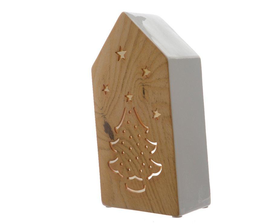Kaemingk Windlicht Dolomit Keramik Haus 25cm holzoptik weiß - Pic 1