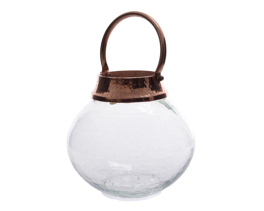 Kaemingk Glaswindlicht 19 x18cm Metallgriff kupferfarben - Pic 1