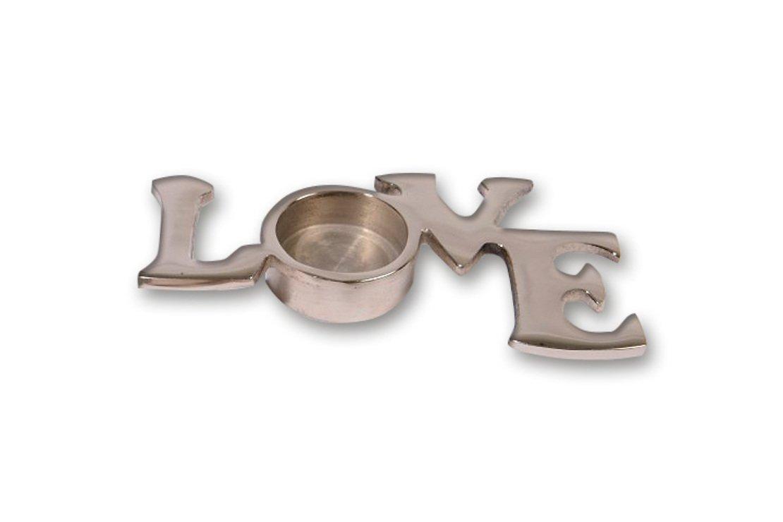 Kaemingk Teelichthalter LOVE Aluminium 15 x 8 cm - Pic 1