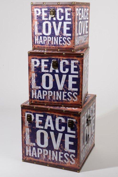Kaemingk Aufbewahrungstruhen 3er Set Peace Love Happiness - Pic 1