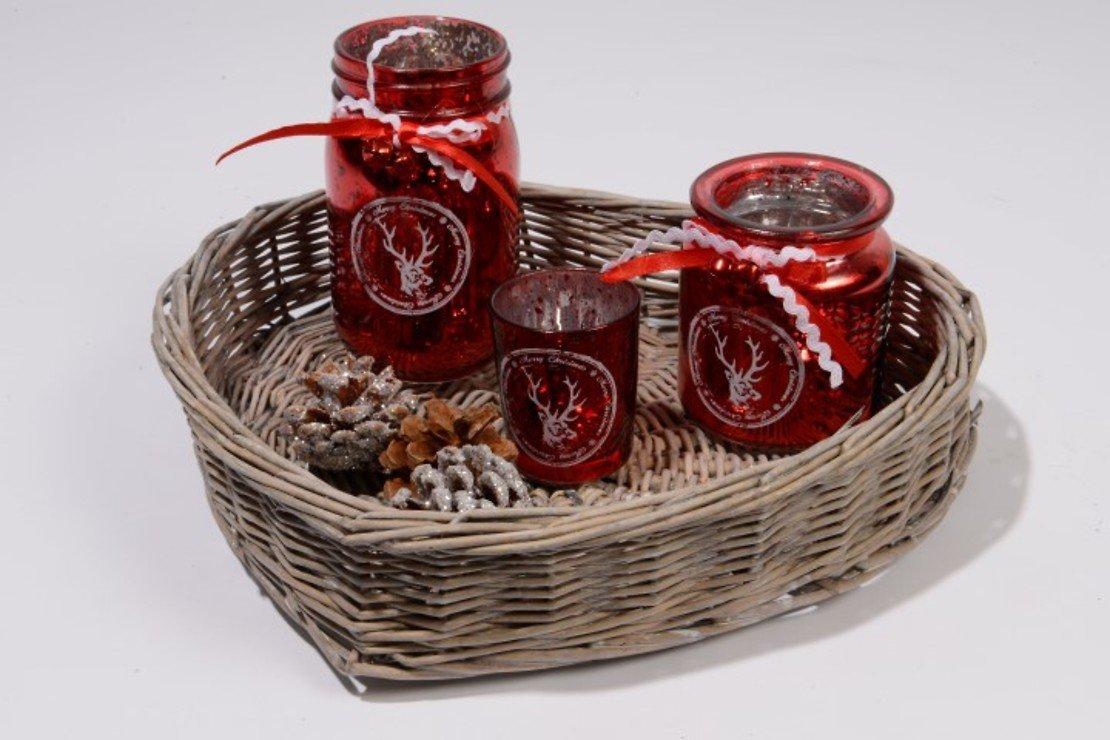 Kaemingk Glasteelichter rot mit Weidenherz - Pic 1