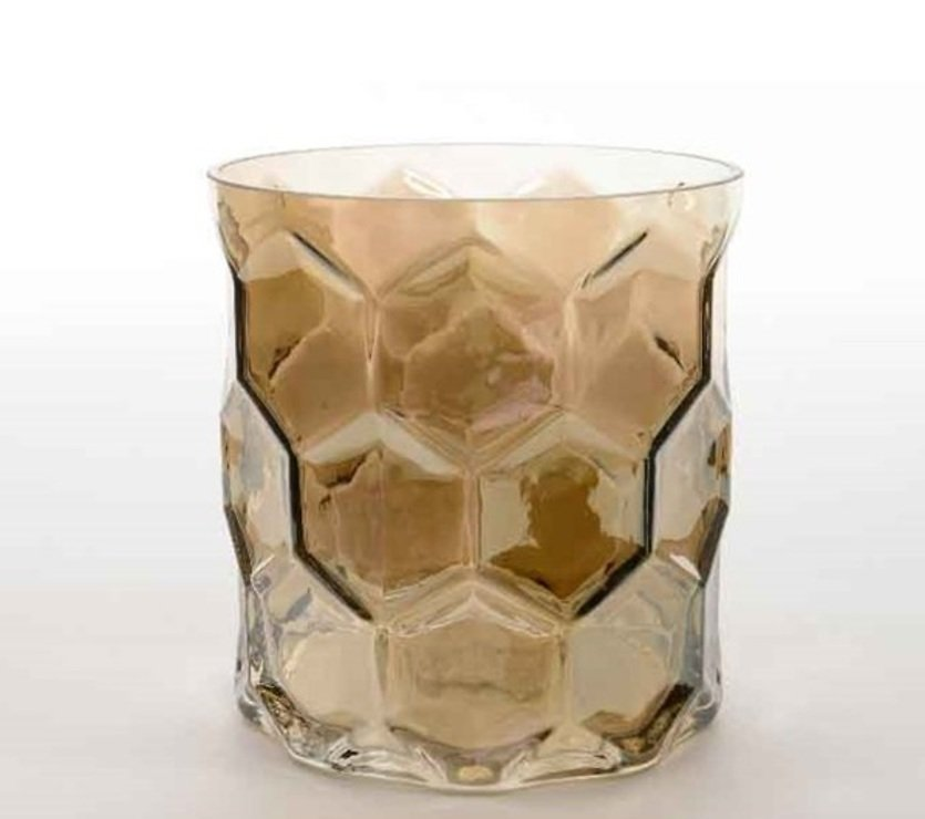 Kaemingk Windlicht Glas Diamantschliff 15cm grau - Pic 1