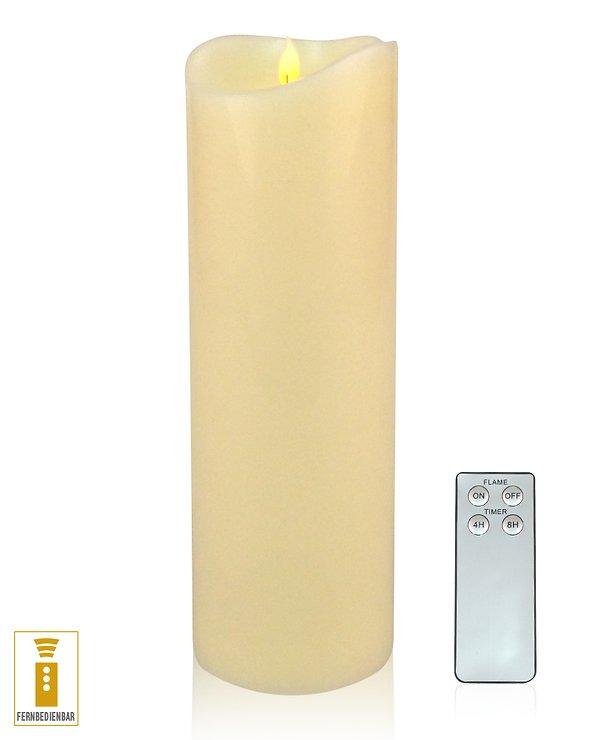 Lichtdekor LED Echtwachskerze 10 x 20 cm Timer Fernbedienung elfenbein