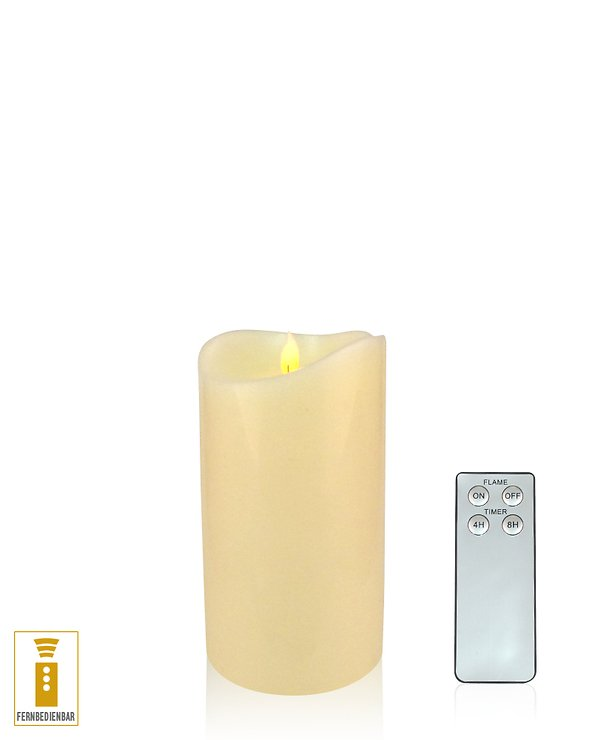 Lichtdekor LED Echtwachskerze Flame 9 x 14 cm Timer Fernbedienung elfenbein - Pic 1