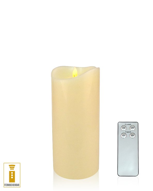 Lichtdekor LED Echtwachskerze Flame 9 x 18 cm Timer Fernbedienung elfenbein - Pic 1