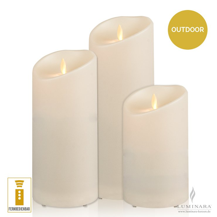 Luminara LED Kerzen Outdoor 3er Set elfenbein fernbedienbar - Pic 1
