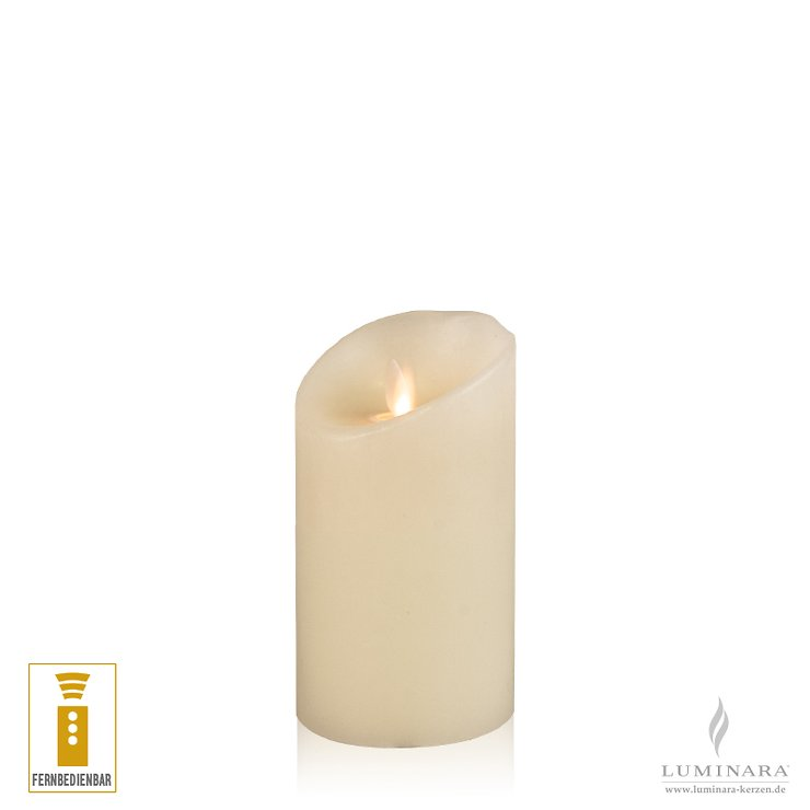 Luminara LED Kerze Echtwachs 8x13 cm elfenbein fernbedienbar glatt - Pic 1