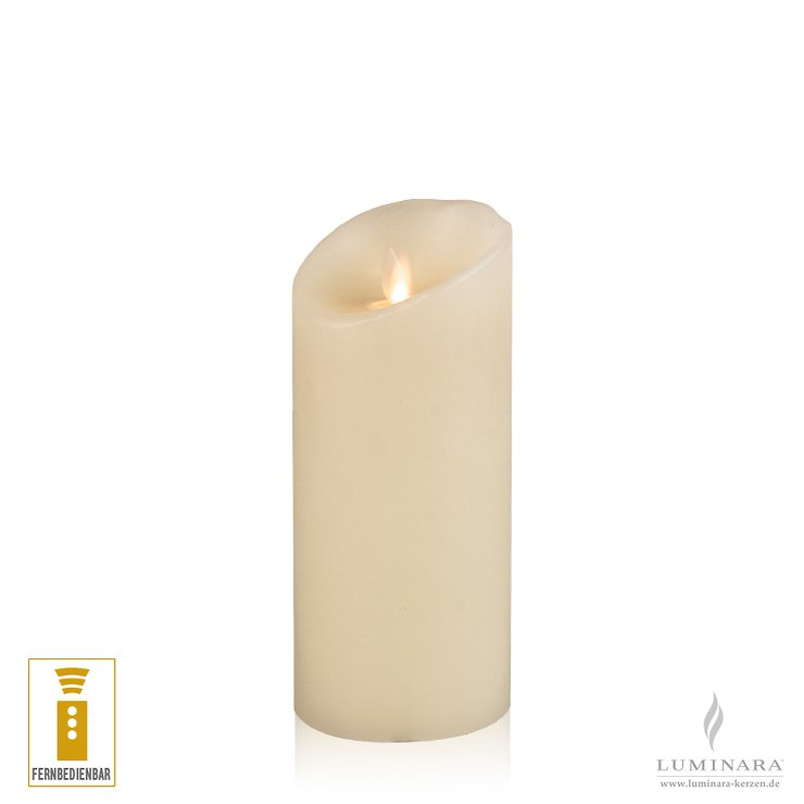 Luminara LED candle real wax 8x17 cm ivory remote control smooth NEW - Pic 1
