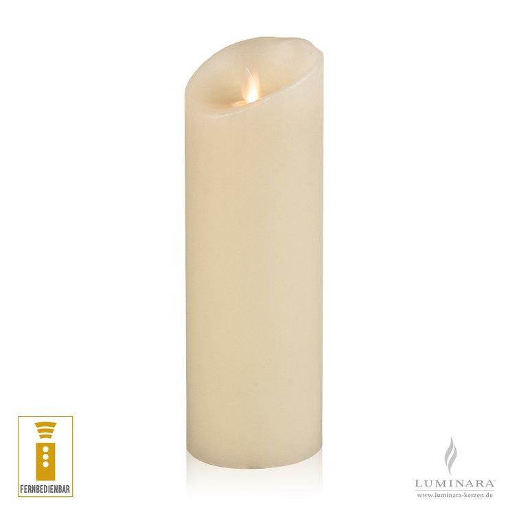 Luminara LED Kerze Echtwachs 8x23 cm elfenbein fernbedienbar glatt - Pic 1