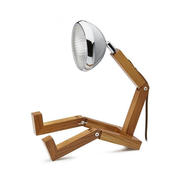 MR WATTSON Original LED Tischlampe Holz Metall grau - Pic 1