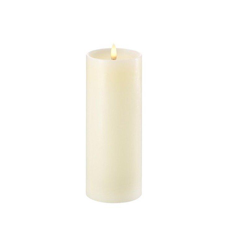 UYUNI Lighting LED Kerze PILLAR tiefer Docht 7,8 x 20 cm ivory - Pic 1